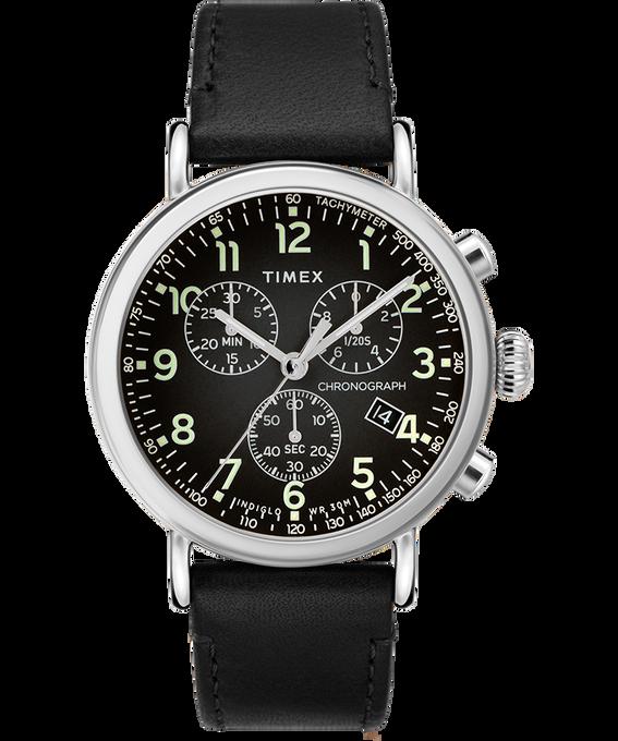 Standard Chronograph mit Lederarmband, 40mm Silberfarben/schwarz large