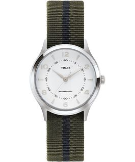 Whitney Village mit Ripsband-Armband und weißem Ziffernblatt, 38 mm Edelstahl/weiß large