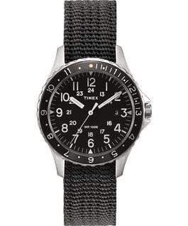 Navi Ocean, 38 mm, mit Textilarmband Edelstahl/grau/schwarz large