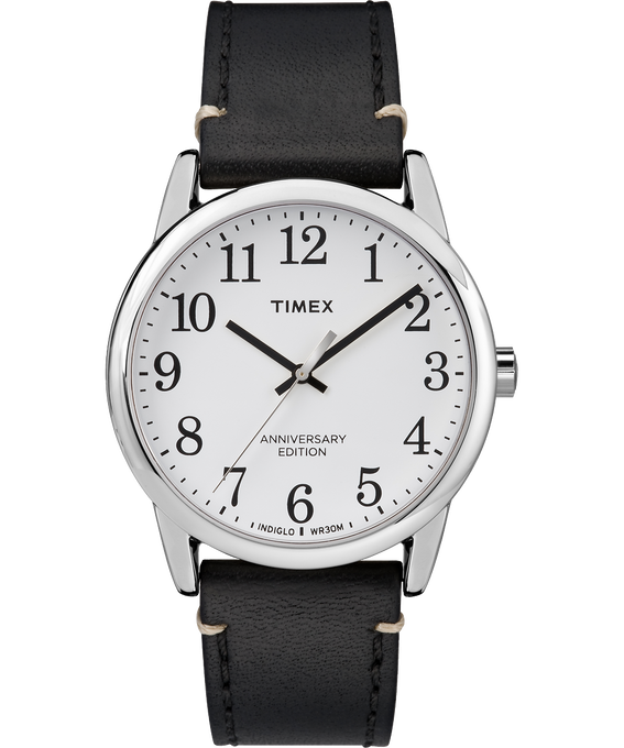 Easy Reader 40th Anniversary Special Edition 38mm Leather Watch Silver-Tone/Black/White large