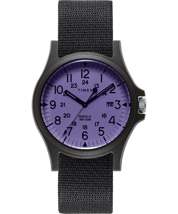 Acadia mit Textilarmband, 40 mm Black/Purple large