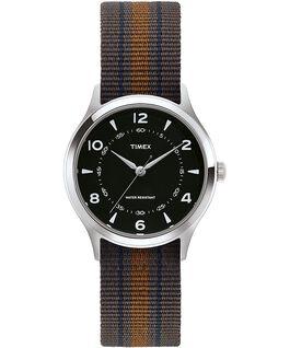 Whitney Village mit Ripsband-Armband zum Wenden, 36 mm Edelstahl/schwarz large