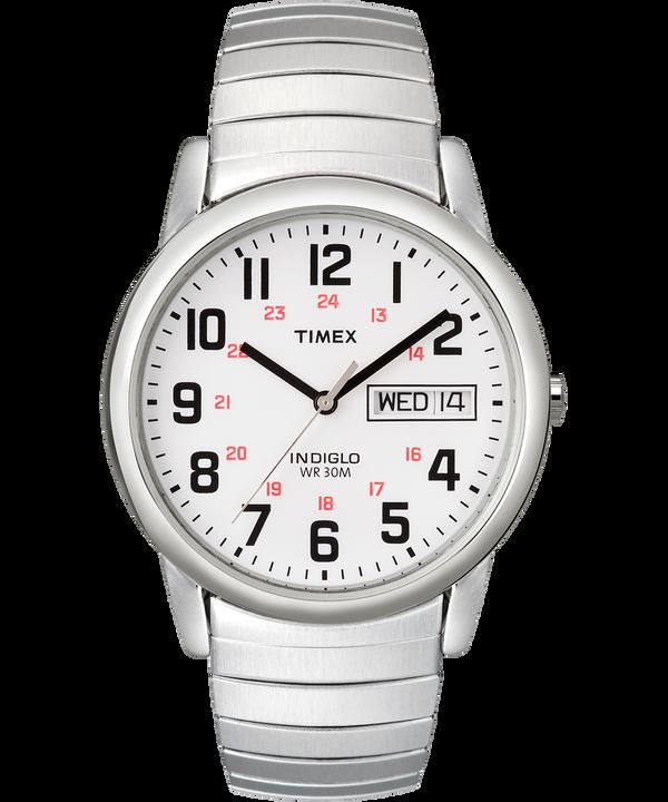 Easy Reader mit Tages- und Datumsfunktion und Verlängerungsarmband, 35mm Silver-Tone/Stainless-Steel/White large