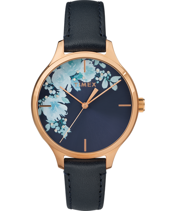 Crystal Bloom with Swarovski Elements 36mm Leather Watch Rose-Gold-Tone/Blue large